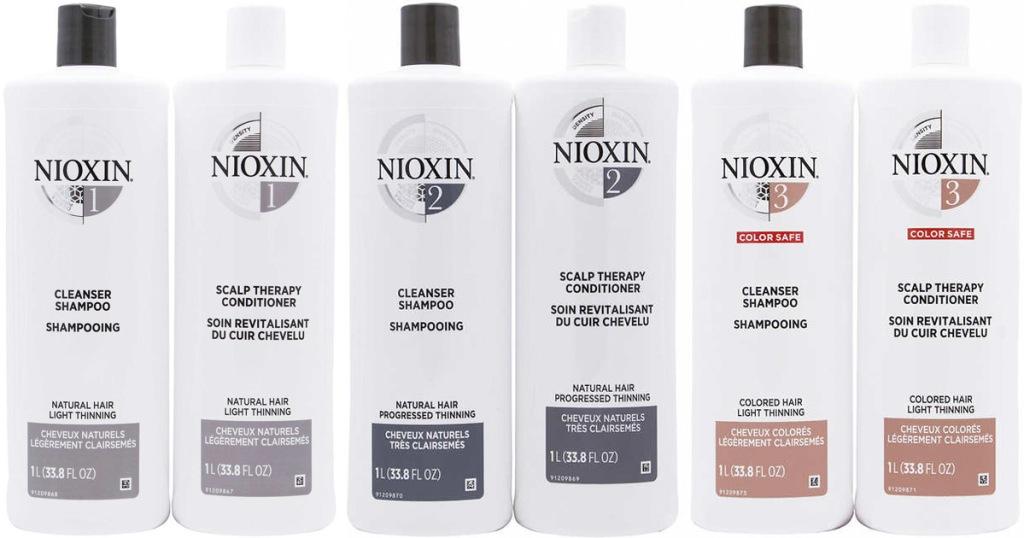 six bottles of nioxin brand shampoo and conditioner