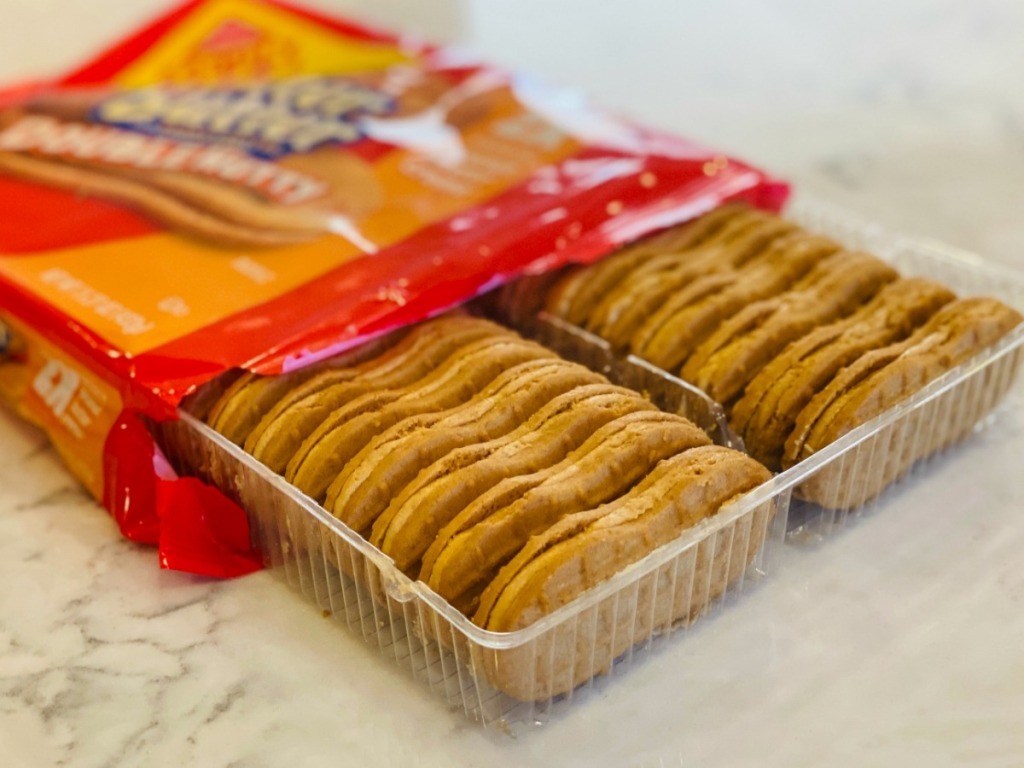 Nutter Butter Cookies in package on counter