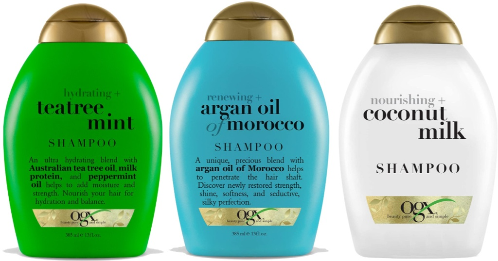 OGX Shampoo & Conditioner bottles in argan oil, coconut milk, and treetea & mint