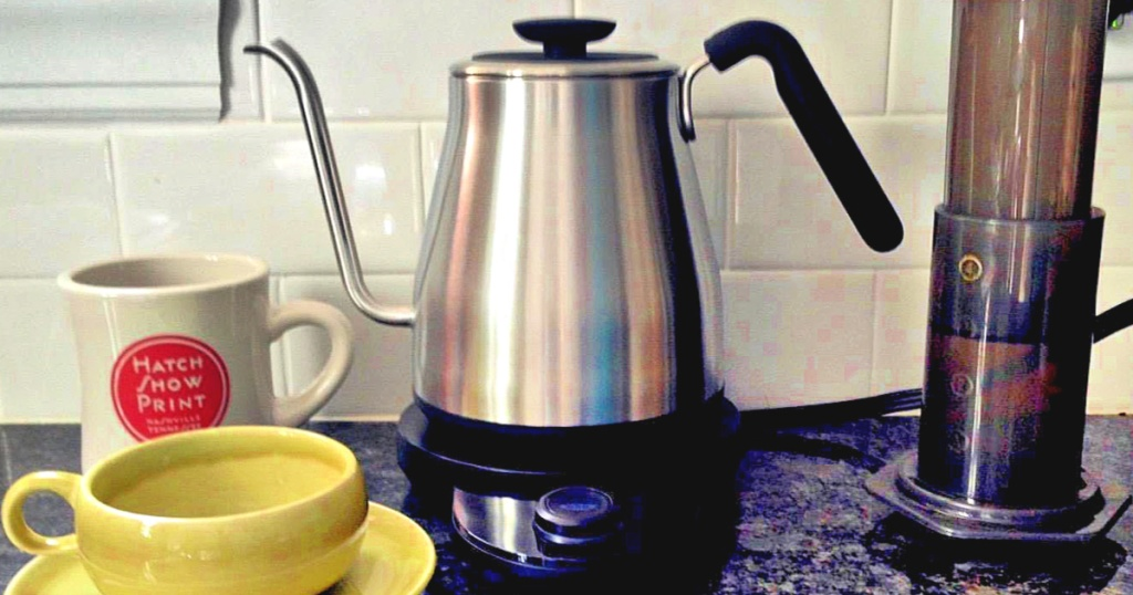 OXO Brew Adjustable Temperature Pour-Over Kettle on counter