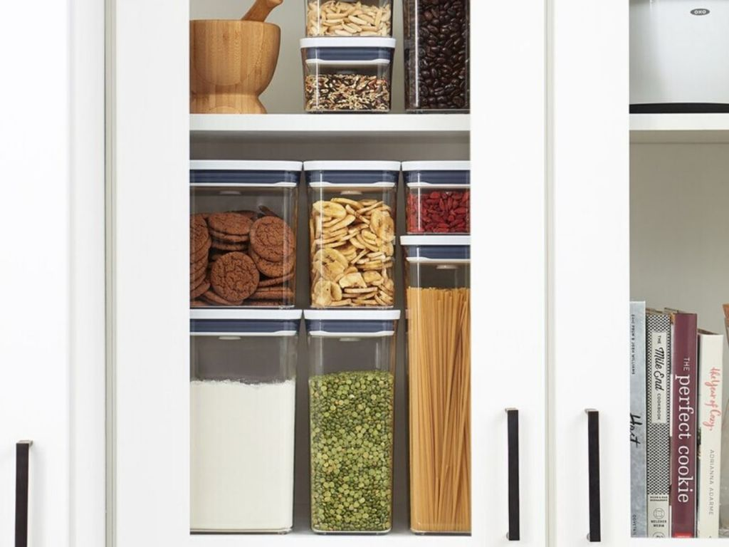 Cabinet full of OXO containers