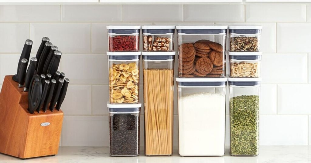 countertop with 10 piece food storage containers