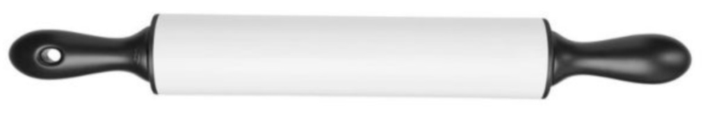 black and white rolling pin