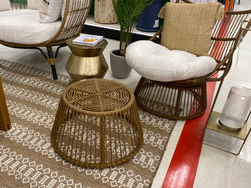 Wicker papasan chair and ottoman displayed in store