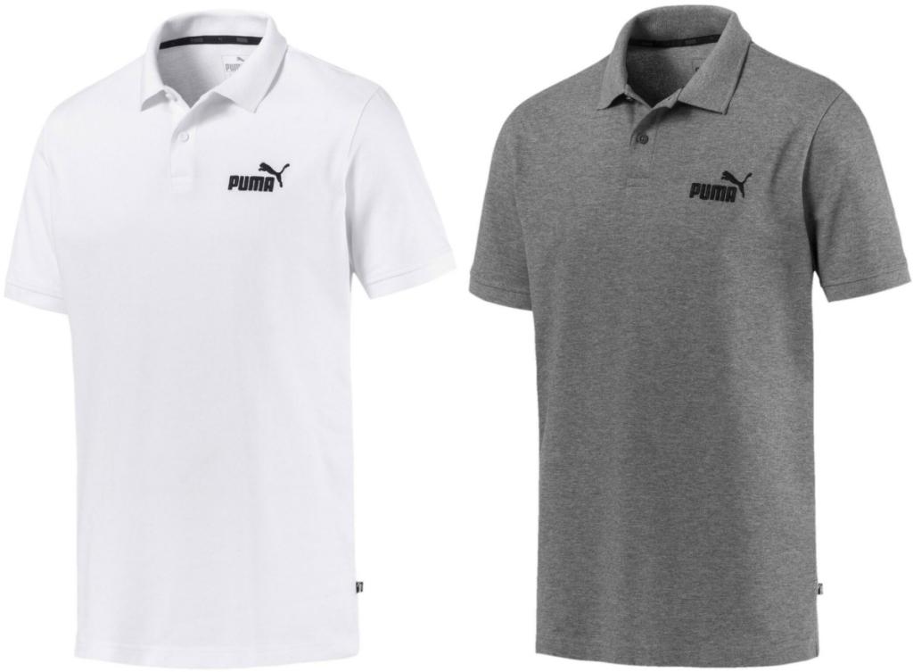 Two men's athletic polos on white background - in gray and white