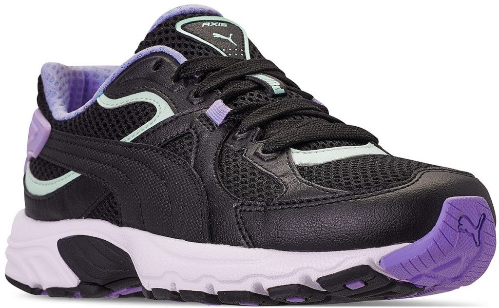 black, purple, and light mint color PUMA Women's Axis Plus '90s Casual Sneakers