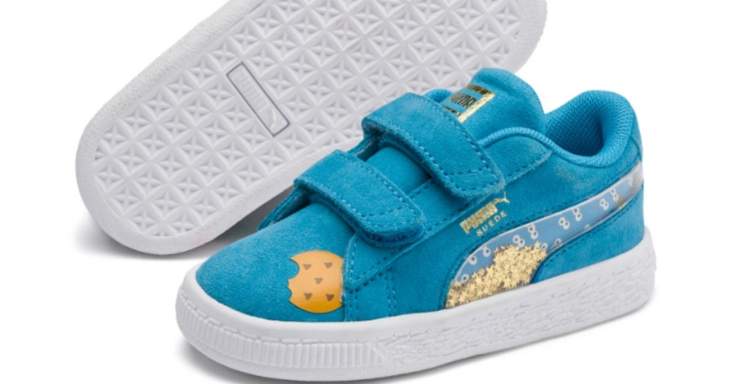 PUMA sesame street toddler shoe with Cookie Monster on it