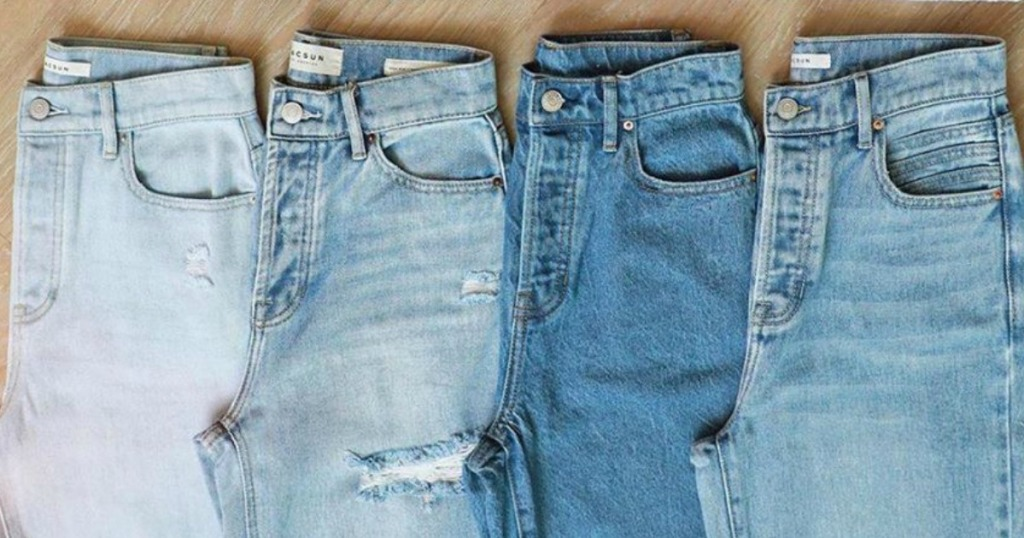 jeans in four different colors