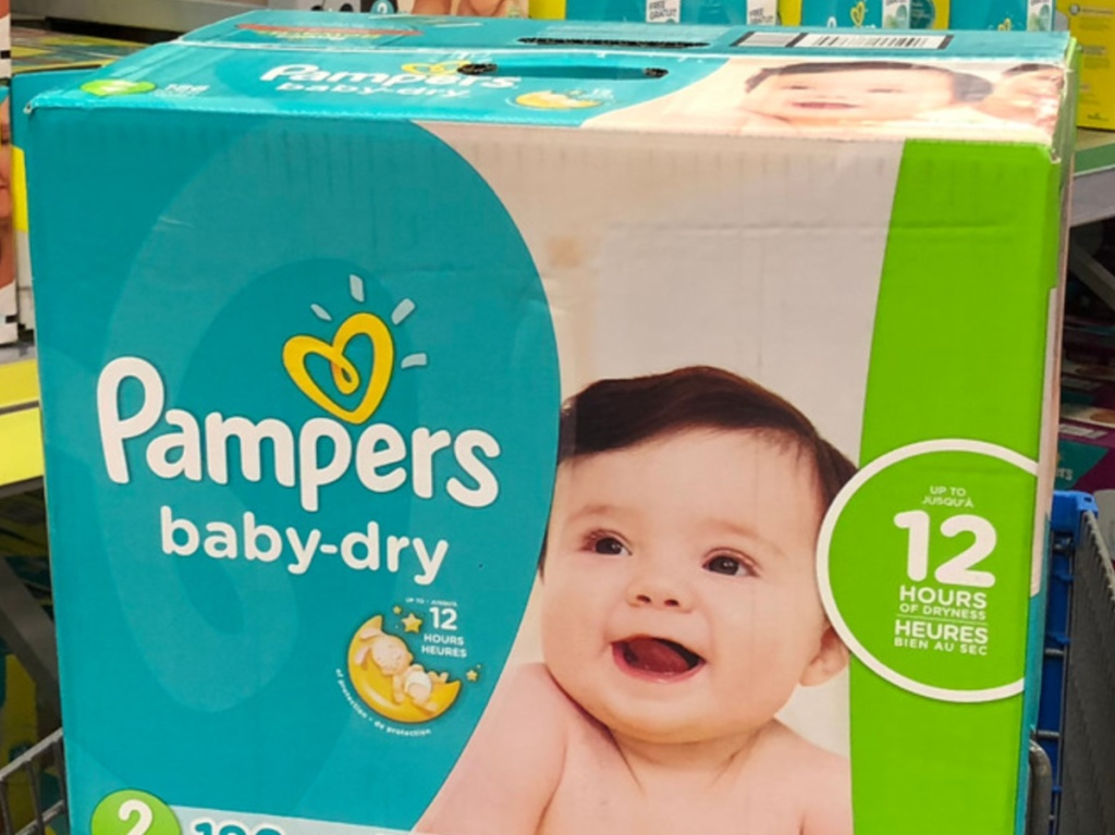 box of diapers in store