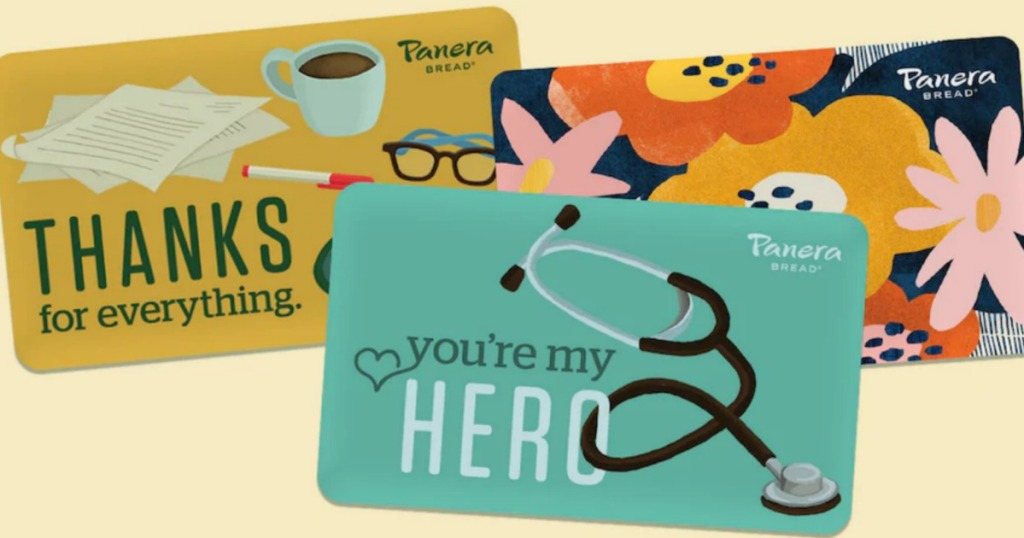 3 different Panera Bread Gift Cards