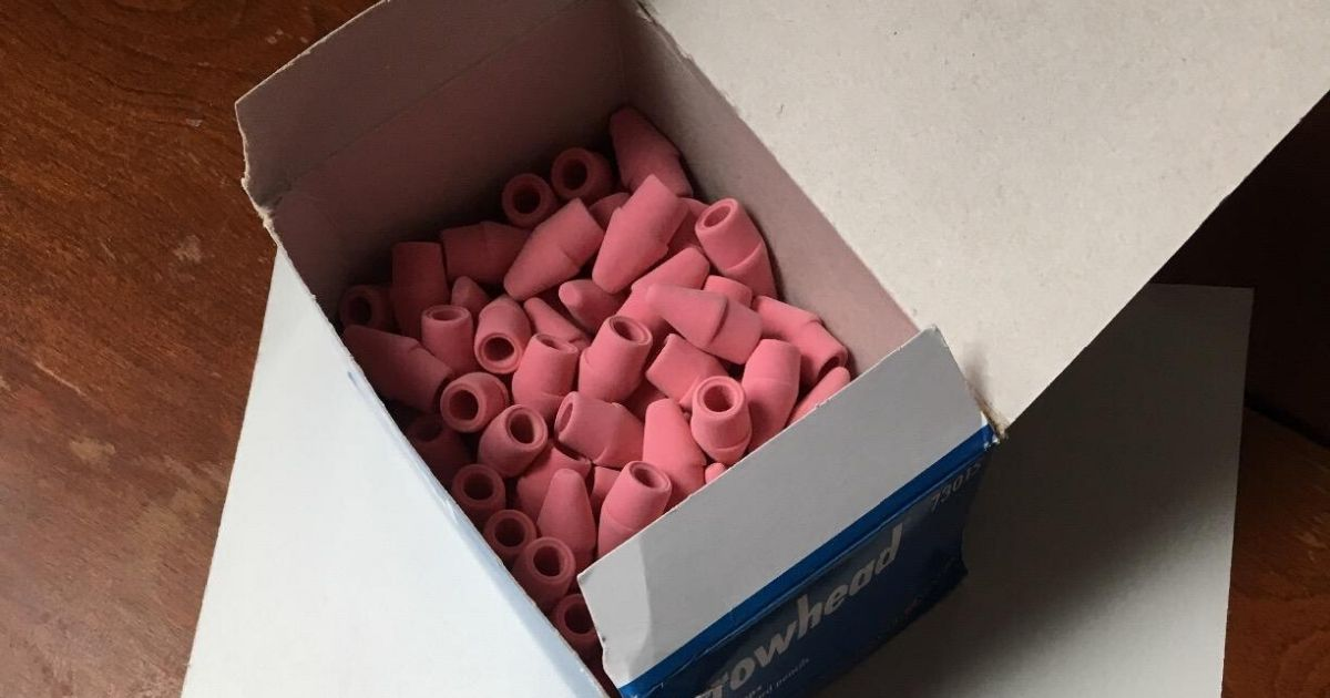 box of Paper Mate pink eraser tops