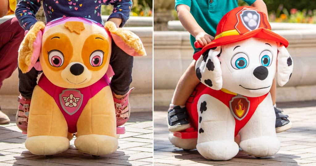 two kids plush ride-on toys shaped as the dogs skye and marshall from paw patrol