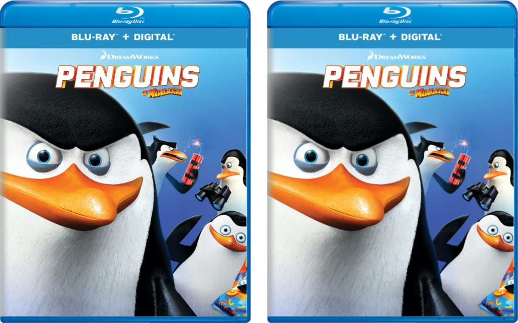 two pictures of kids animated penguin movie blu-ray cover art