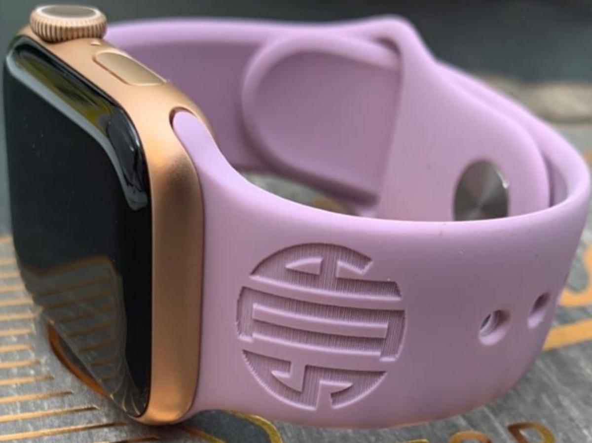 purple monogrammed Apple watch band