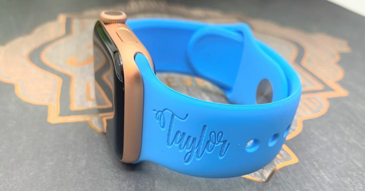 bright blue monogrammed Apple watch band