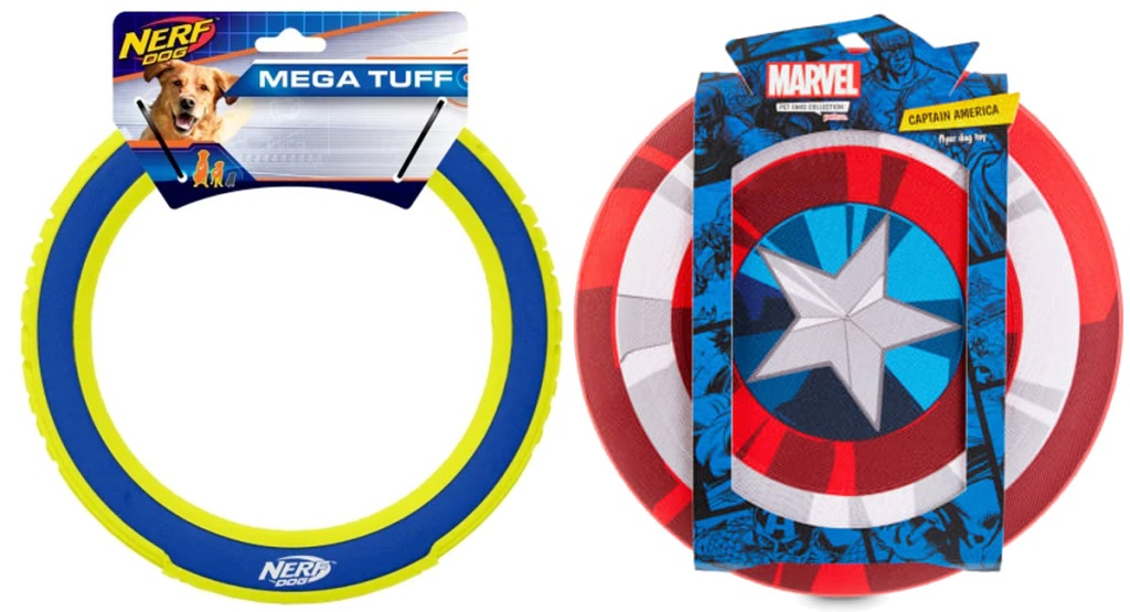 blue and green ring dog frisbee toy and captain america shield frisbee toy