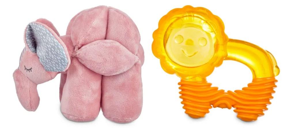 pink plush elephant shaped dog toy and orange lion rubber dog chew toy