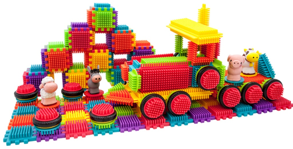 colorful tiles shaped into a tractor