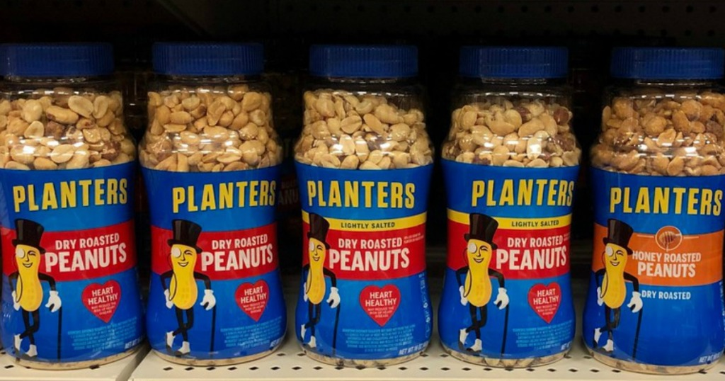 jars of Planters peanuts on store shelf