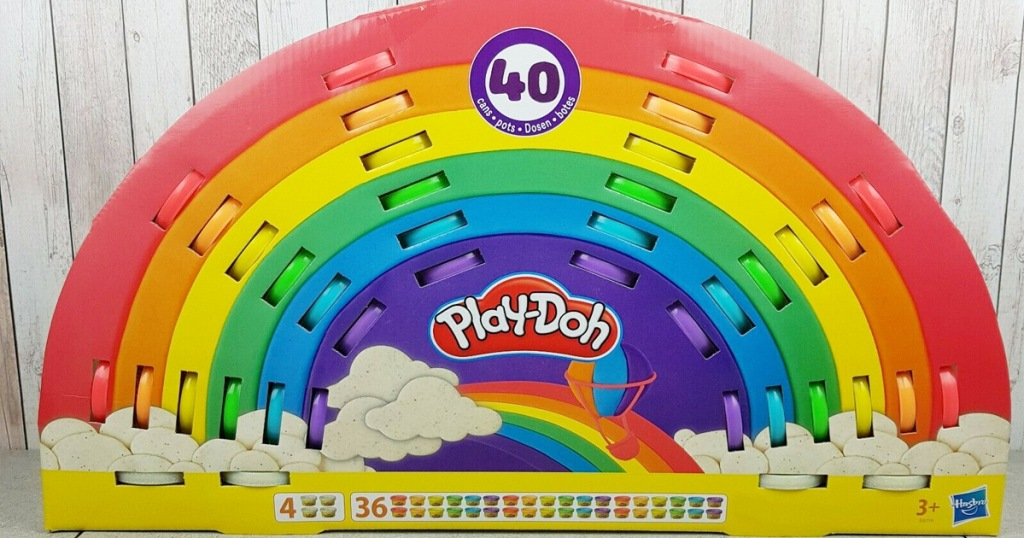 play-doh in rainbow shaped box