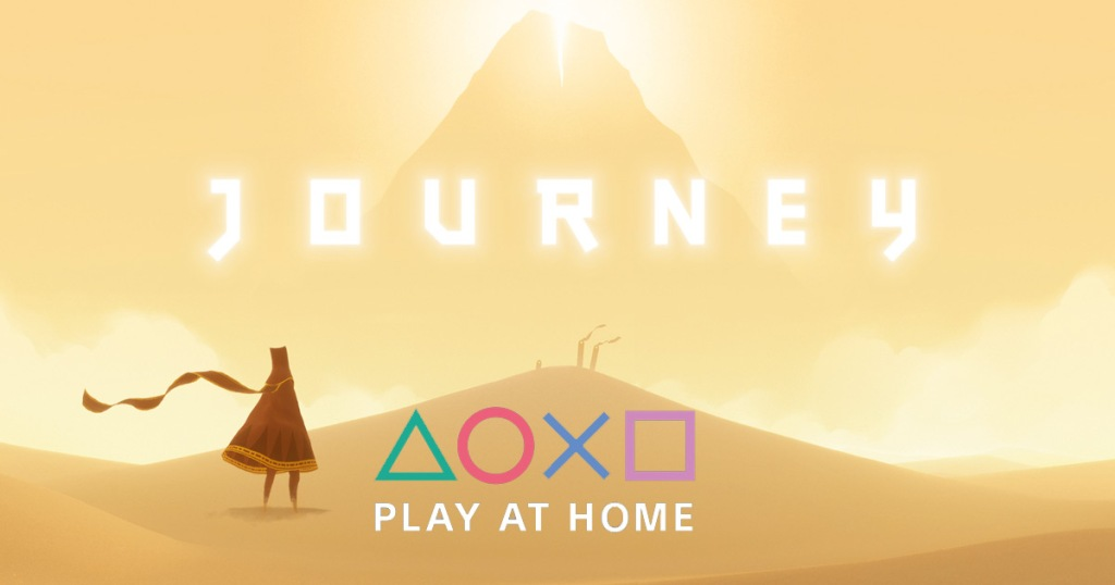 screenshot of playstion journey game with character walking toward pyramid