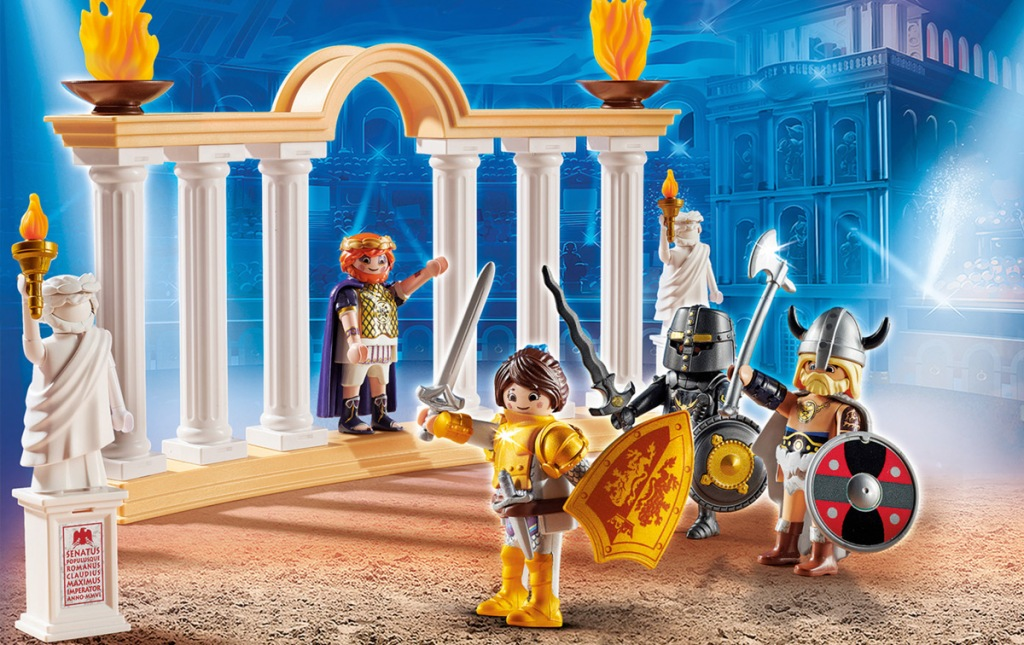 colosseum shaped playset with playmobil characters holding swords and shields