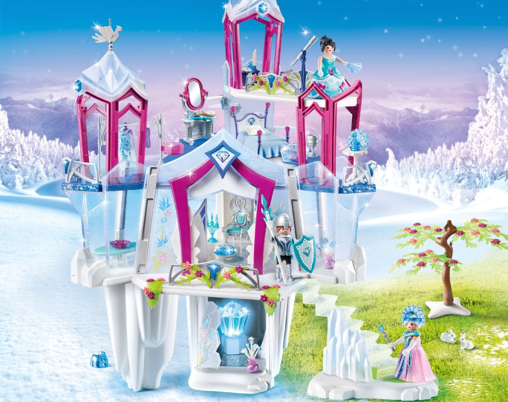 white, blue, and pink castle playset with playmobil characters