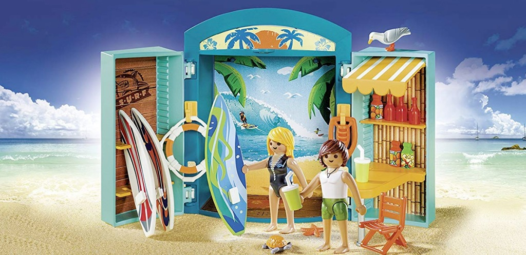 playmobil people with surf shop shaped playset and surf boards