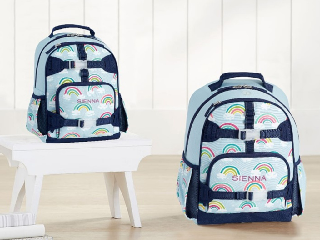 two rainbow backpacks sitting next to each other