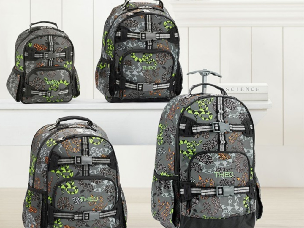 4 kids backpacks with snaks on them sitting in a group