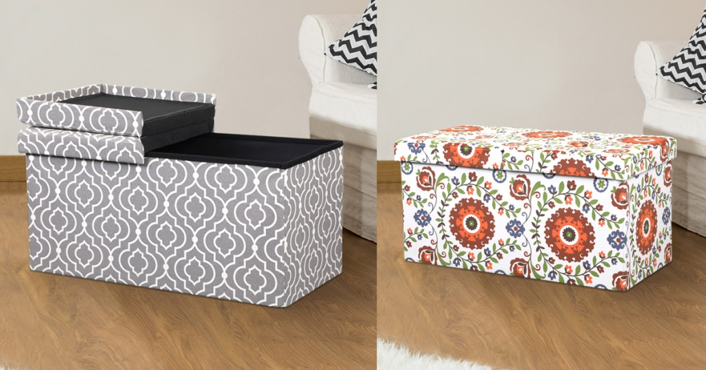 two storage ottomans in living room, one grey with white pattern and one white with floral pattern