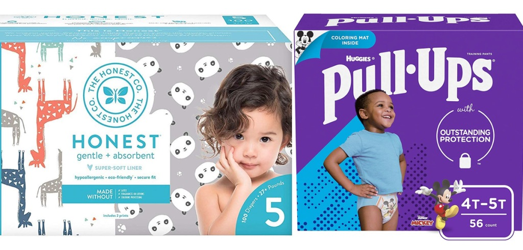 pullups and honest company diaper boxes