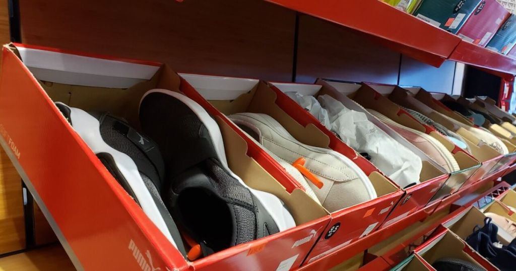 Puma Mens Sneakers inboxes on store shelf