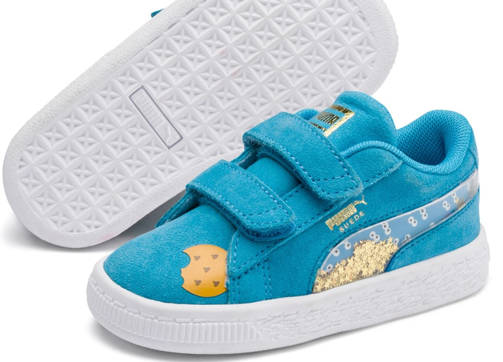 blue toddler velcro shoes with gold glitter and cookie print