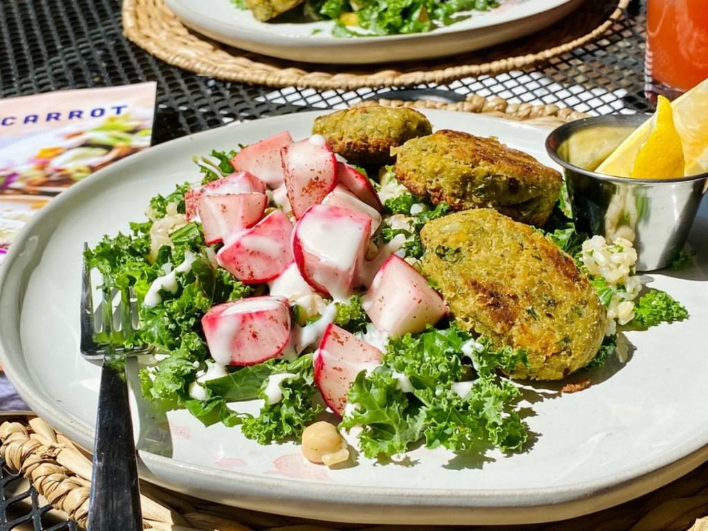 Radish salad on a breakfast nook outside