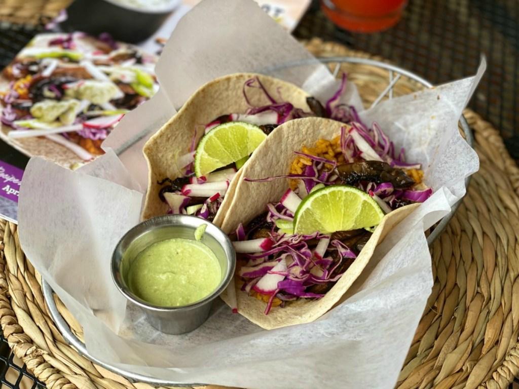 vegan tacos with a green sauce