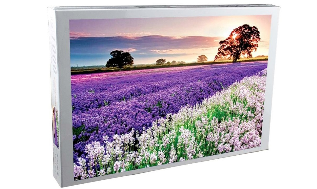 puzzle box with photo of a field of lavender flowers at sunrise