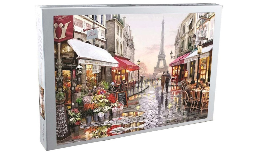 puzzle box with photo of busy paris street wit Eiffel tower in background
