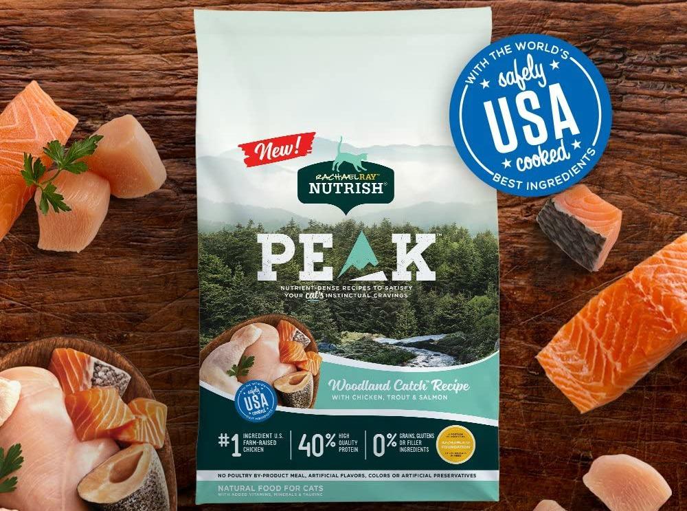Rachael Ray nutrish peak cat food next to fresh food