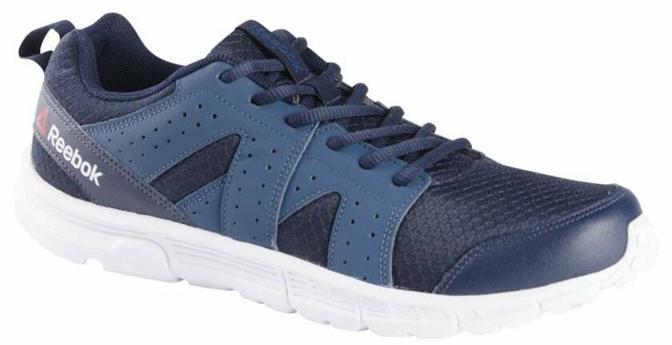 blue and white running shoes