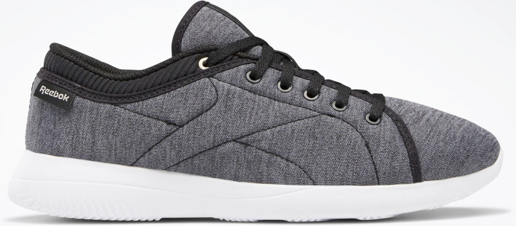 grey and black cloth reebok walking shoe