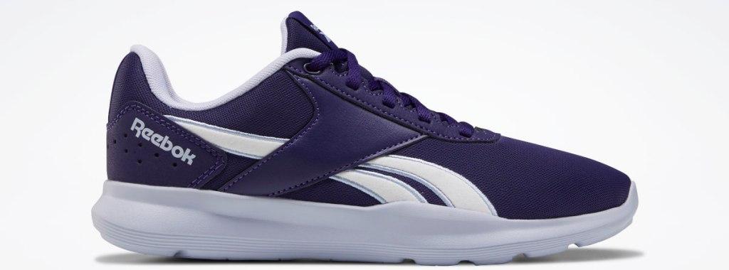 purple and white Reebok sneaker