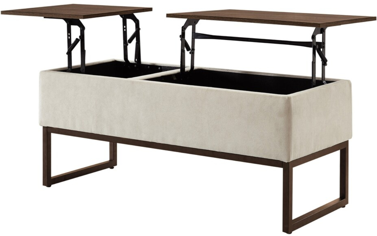 coffee table with lid heightened revealing two work stations