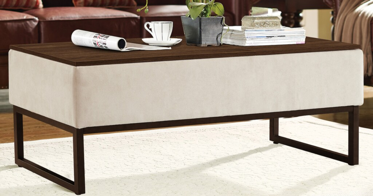brown and tan coffee table with magazine and coffee cup on tabletop