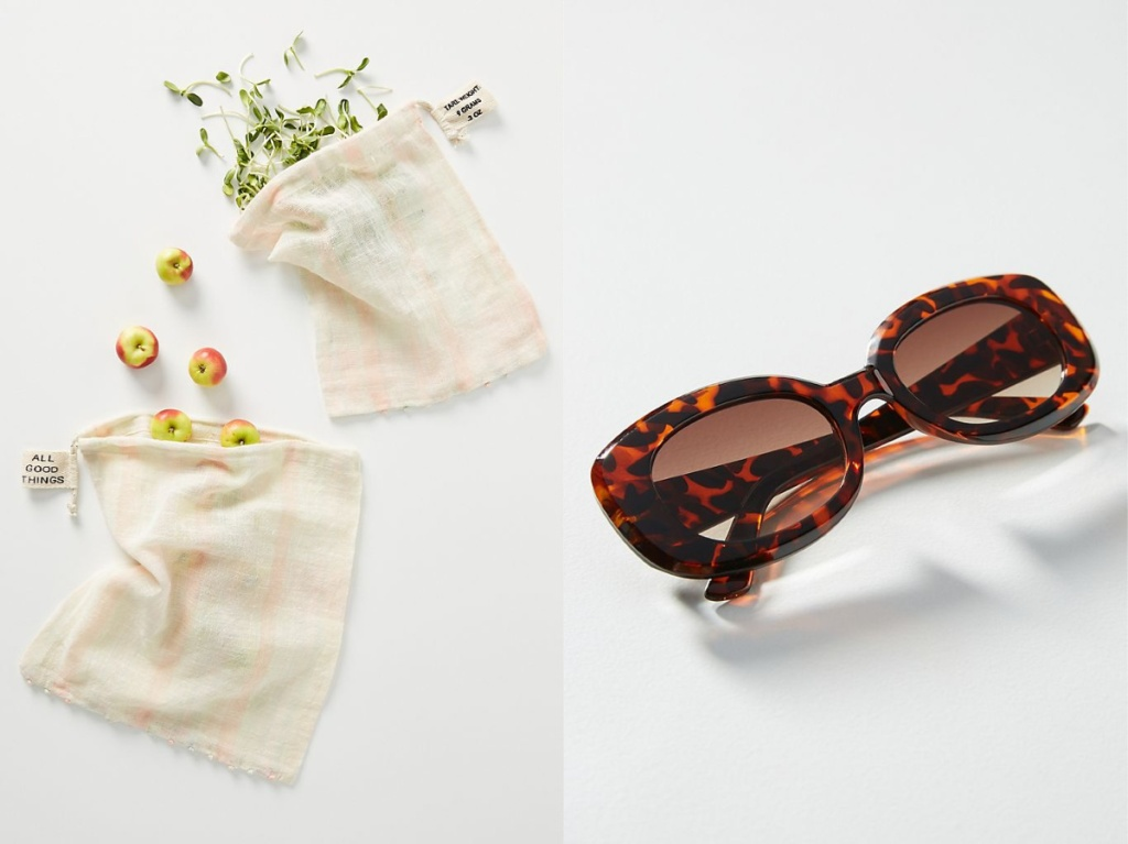 two reusable produce bags filled with produce and brown square sunglasses