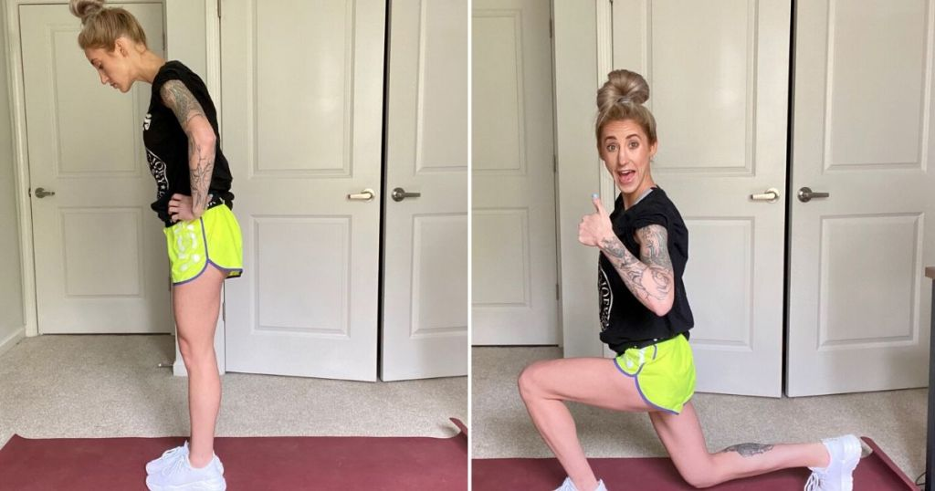 Woman doing a reverse lunge in steps