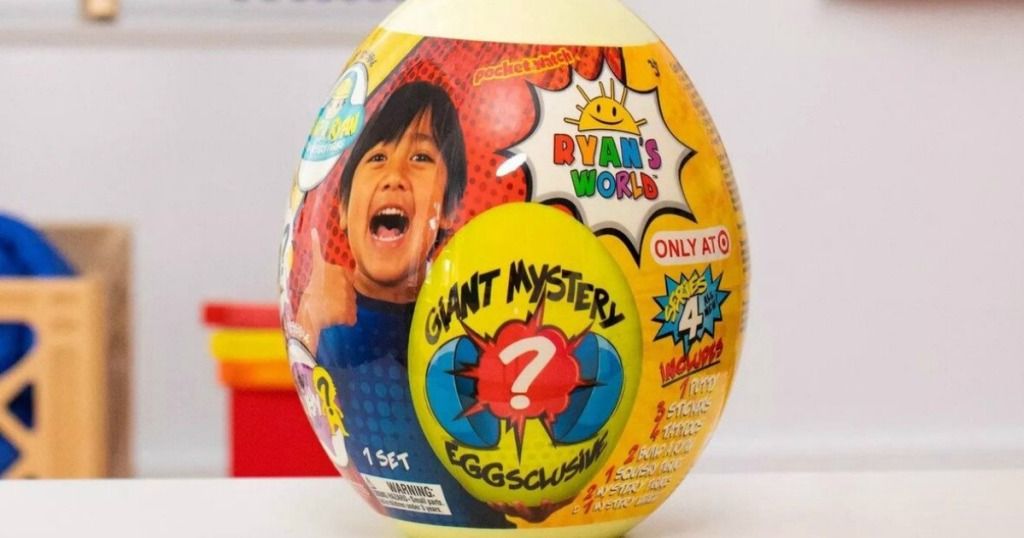 Ryan's world egg in a stor sitting on a counter