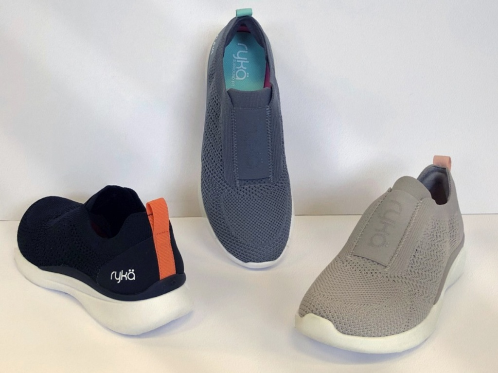 blue and gray slip on shoes