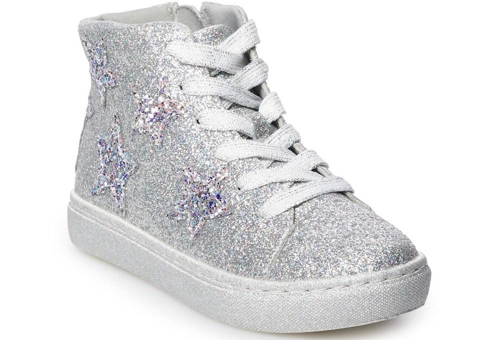 silver glitter hightop sneaker