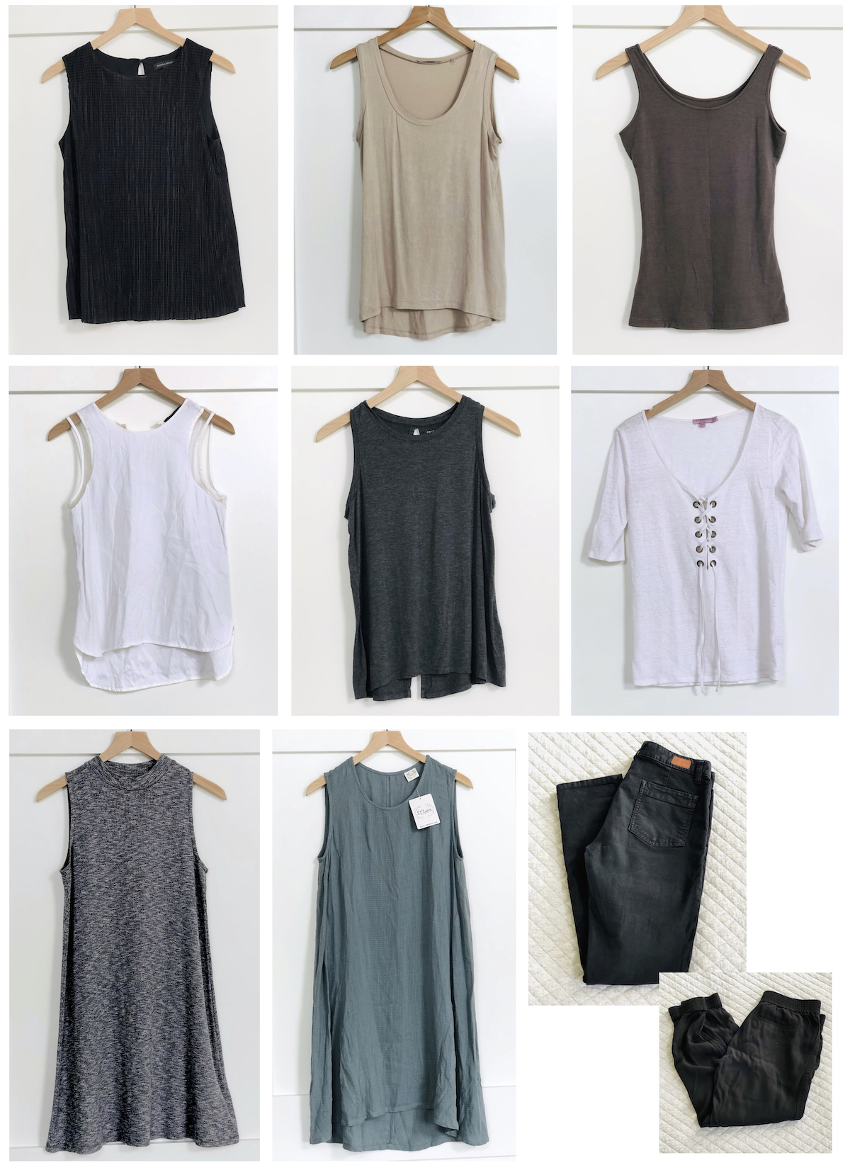 photo collage of various pieces of neutral clothing hanging up on wood hanger with white background